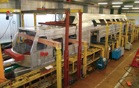 Full-size railcar body set up for static testing