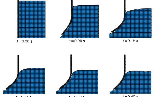 Análisis FEA de la deformación de una compuerta flexible bajo presión de agua
