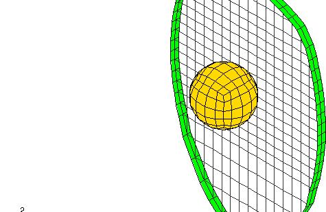Análisis FEM dinámico de tensiones con de una raqueta y una bola