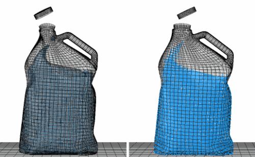 Análisis FEA del impacto de una botella llena de agua